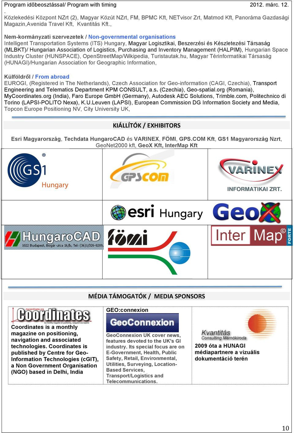 Hungarian Association of Logistics, Purchasing and Inventory Management (HALPIM), Hungarian Space Industry Cluster (HUNSPACE), OpenStreetMap/Wikipedia, Turistautakhu, Magyar Térinformatikai Társaság
