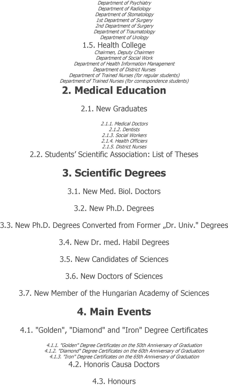 Department of Trained Nurses (for correspondence students) 2. Medical Education 2.1. New Graduates 2.1.1. Medical Doctors 2.1.2. Dentists 2.1.3. Social Workers 2.1.4. Health Officiers 2.1.5.