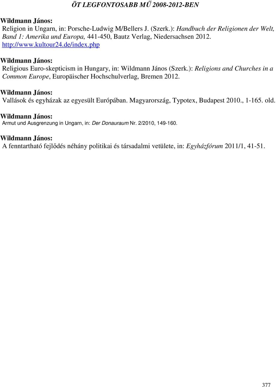 php Religious Euro-skepticism in Hungary, in: Wildmann János (Szerk.): Religions and Churches in a Common Europe, Europäischer Hochschulverlag, Bremen 2012.