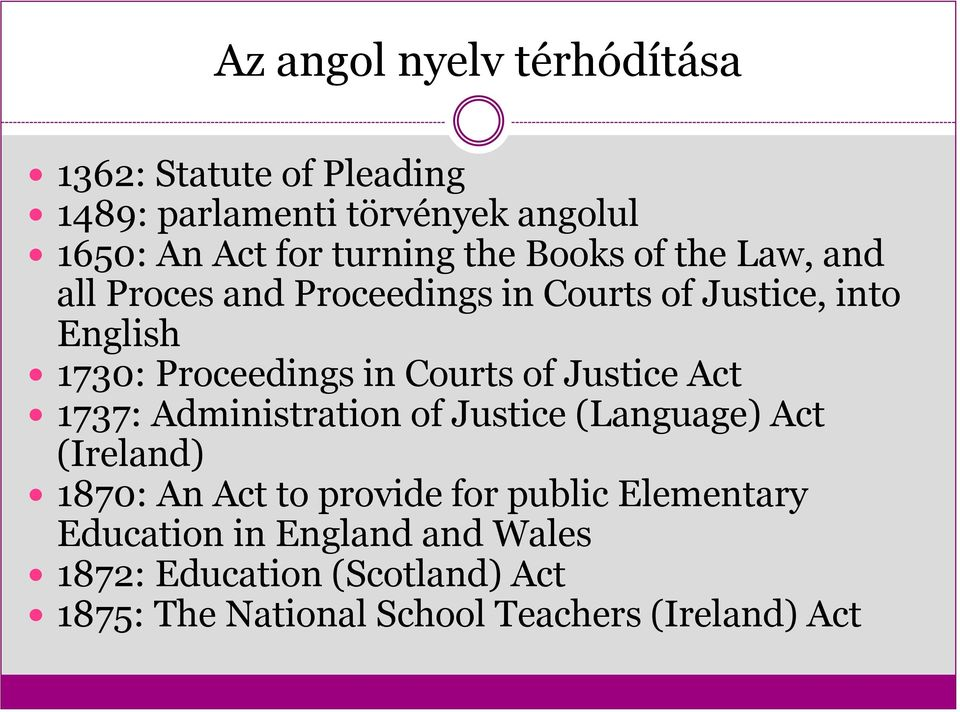 Courts of Justice Act 1737: Administration of Justice (Language) Act (Ireland) 1870: An Act to provide for public