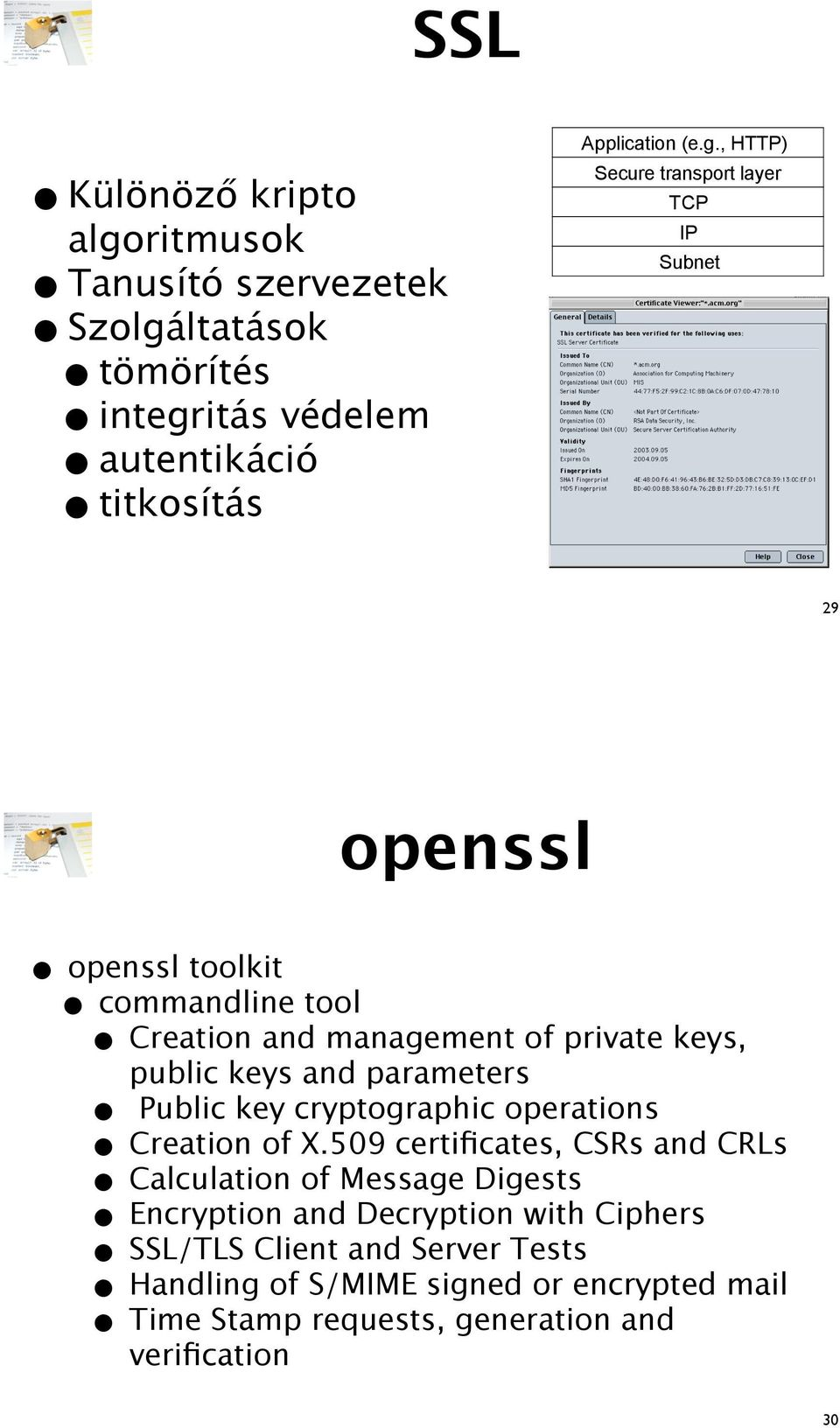 Subnet 29 openssl openssl toolkit commandline tool Creation and management of private keys, public keys and parameters Public key cryptographic
