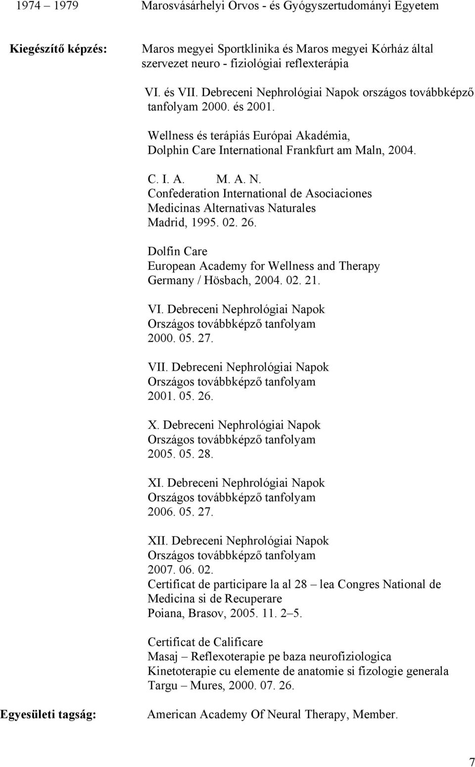02. 26. Dolfin Care European Academy for Wellness and Therapy Germany / Hösbach, 2004. 02. 21. VI. Debreceni Nephrológiai Napok 2000. 05. 27. VII. Debreceni Nephrológiai Napok 2001. 05. 26. X.