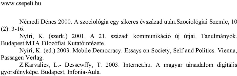 Nyíri, K. (ed.) 2003. Mobile Democracy. Essays on Society, Self and Politics. Vienna, Passagen Verlag. Z.