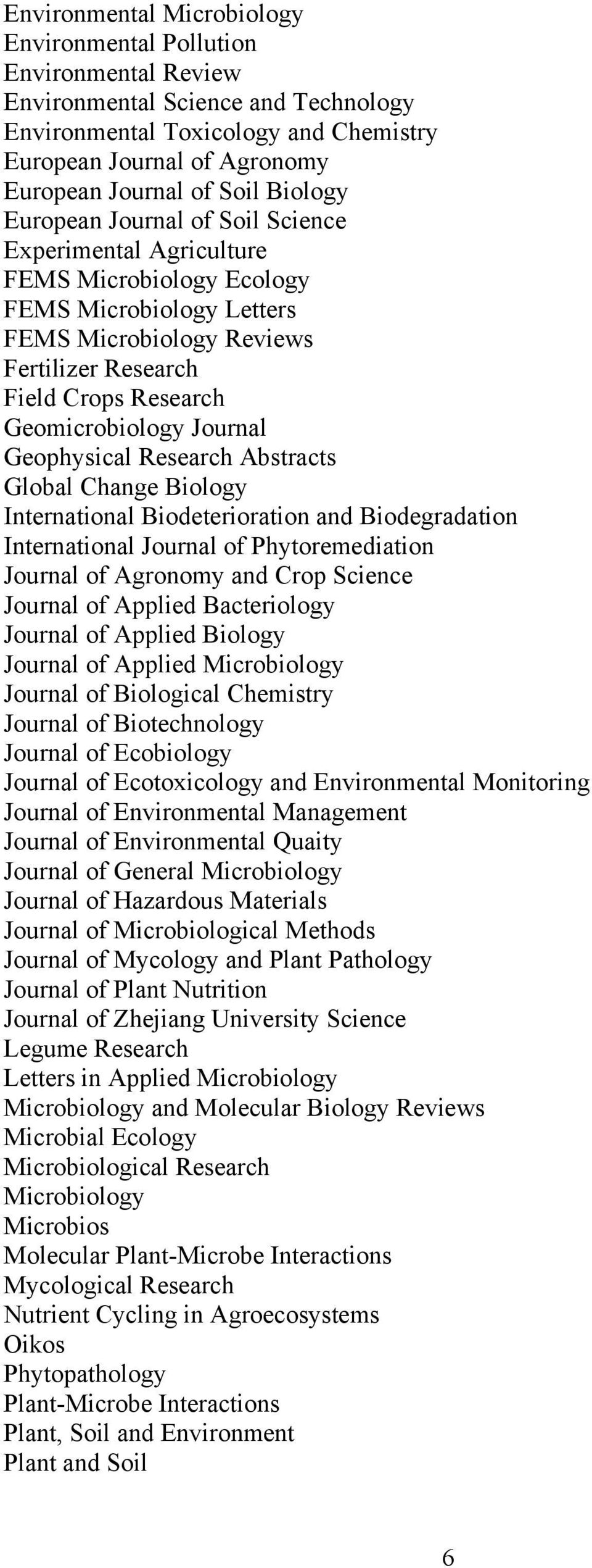 Geomicrobiology Journal Geophysical Research Abstracts Global Change Biology International Biodeterioration and Biodegradation International Journal of Phytoremediation Journal of Agronomy and Crop