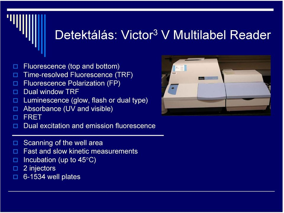 dual type) Absorbance (UV and visible) FRET Dual excitation and emission fluorescence Scanning