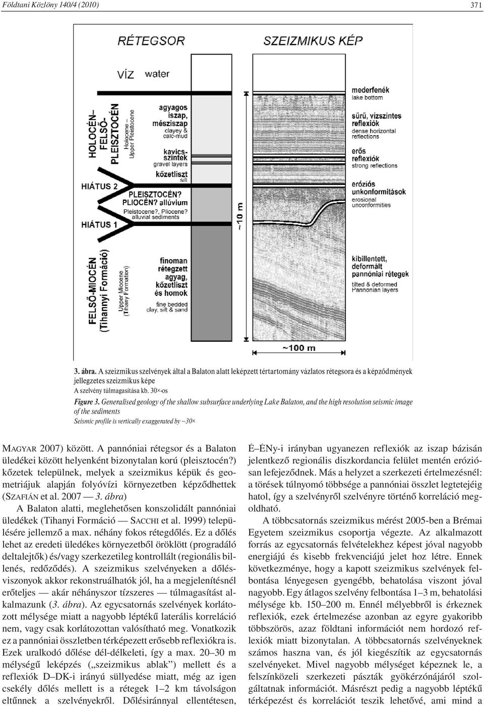Generalised geology of the shallow subsurface underlying Lake Balaton, and the high resolution seismic image of the sediments Seismic profile is vertically exaggerated by 30 MAGYAR 2007) között.