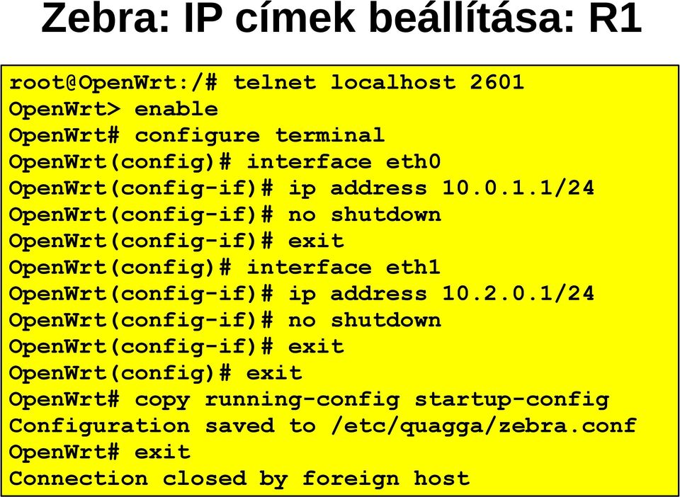 .0.1.1/24 OpenWrt(config-if)# no shutdown OpenWrt(config-if)# exit OpenWrt(config)# interface eth1 OpenWrt(config-if)# ip address 10.