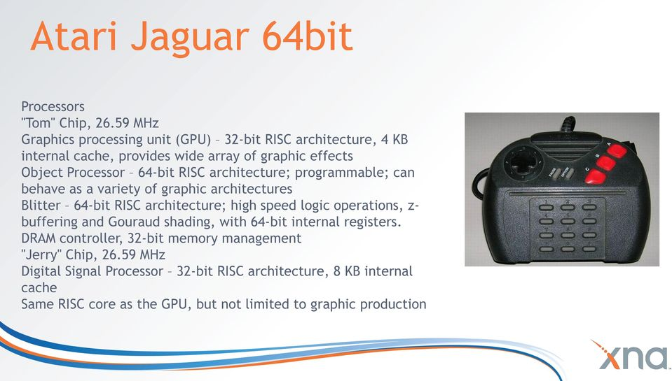 RISC architecture; programmable; can behave as a variety of graphic architectures Blitter 64-bit RISC architecture; high speed logic operations, z-