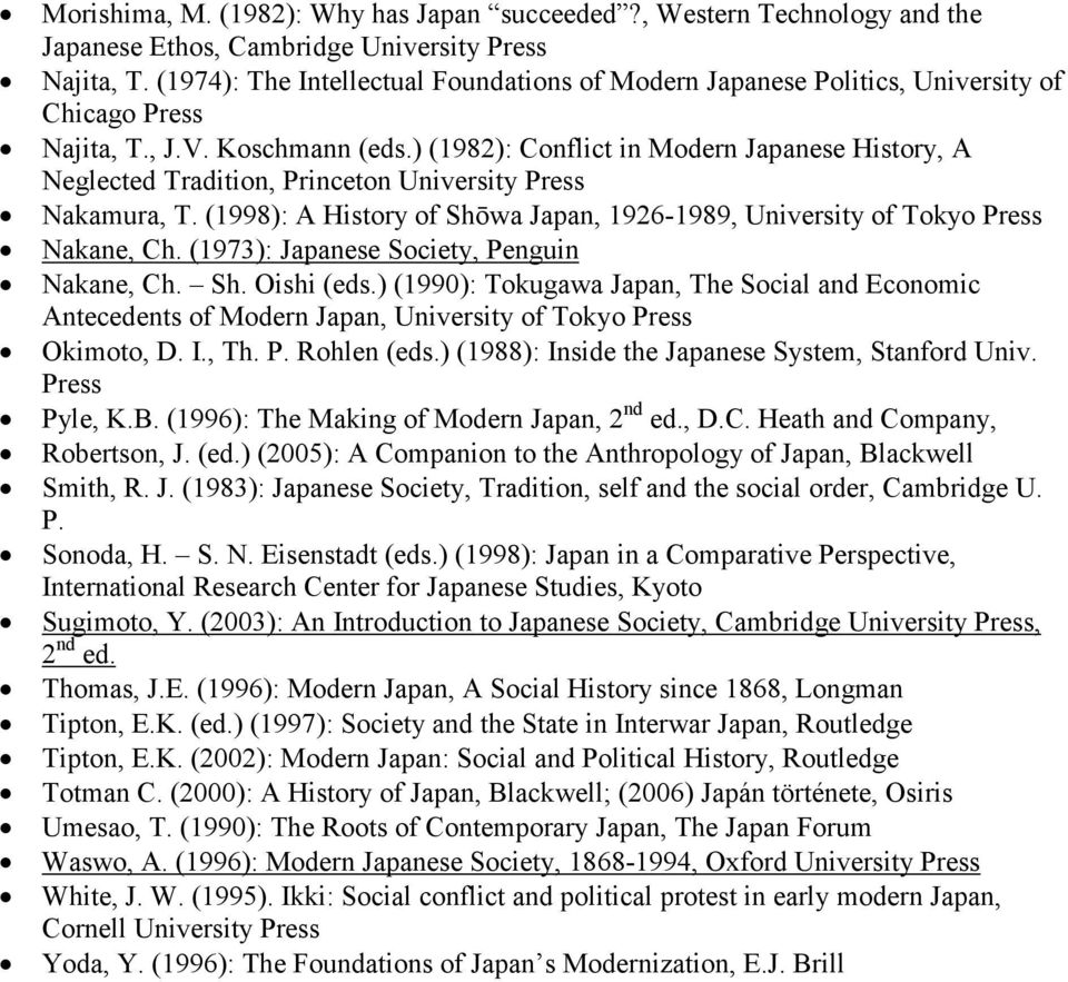 ) (1982): Conflict in Modern Japanese History, A Neglected Tradition, Princeton University Press Nakamura, T. (1998): A History of Shōwa Japan, 1926-1989, University of Tokyo Press Nakane, Ch.