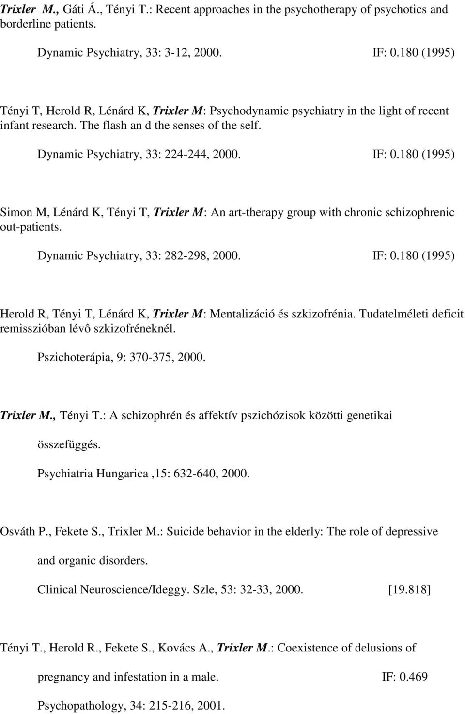180 (1995) Simon M, Lénárd K, Tényi T, Trixler M: An art-therapy group with chronic schizophrenic out-patients. Dynamic Psychiatry, 33: 282-298, 2000. IF: 0.