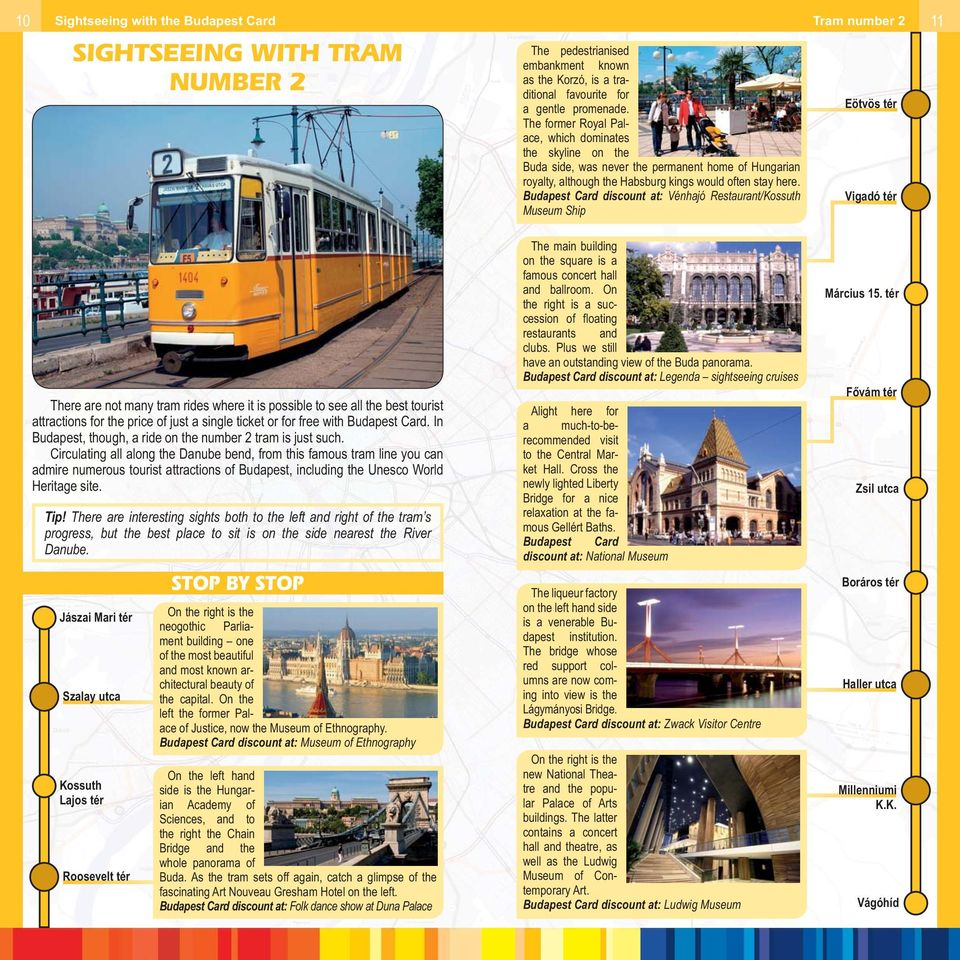 Budapest Card discount at: Vénhajó Restaurant/Kossuth Museum Ship Eötvös tér Vigadó tér There are not many tram rides where it is possible to see all the best tourist attractions for the price of