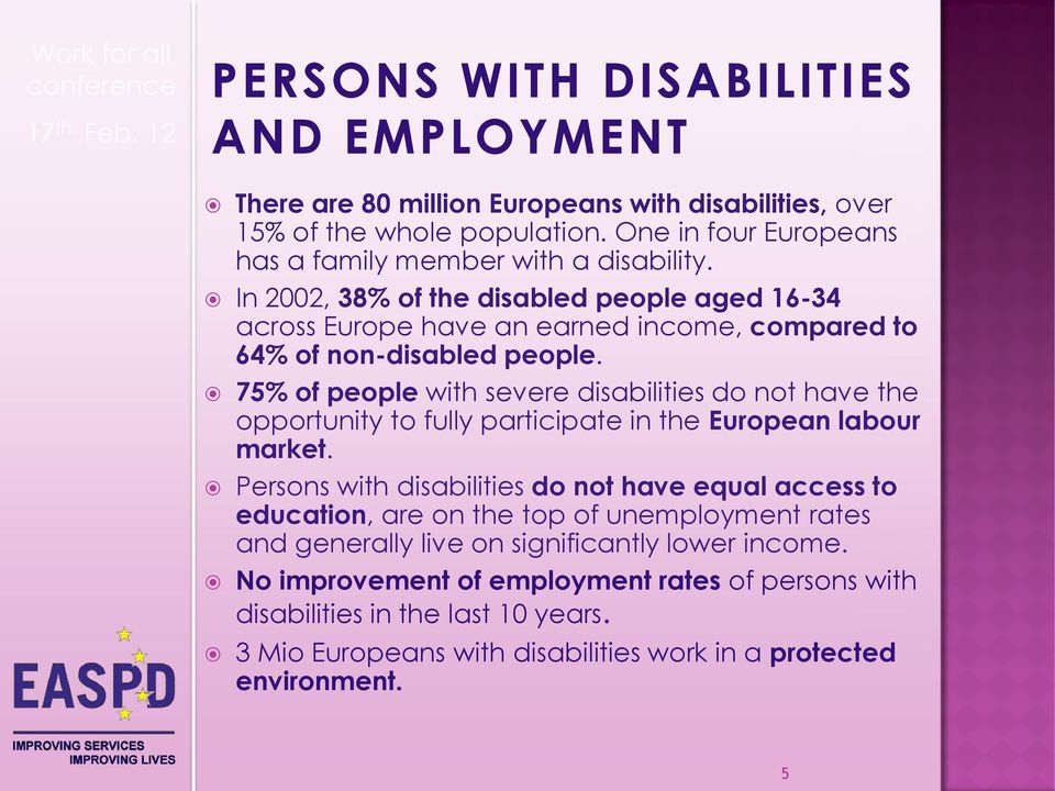 75% of people with severe disabilities do not have the opportunity to fully participate in the European labour market.