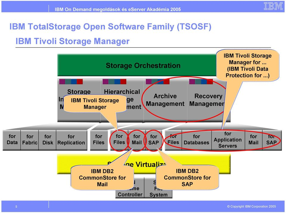 ..) Storage Hierarchical Infrastructure IBM Tivoli Storage Storage Manager Archive Recovery Data Fabric Disk Replication