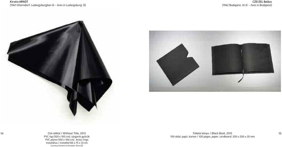 PVC-plane (100 x 100 cm), bress rings installálva / installed 80 x 75 x 33 cm courtesy clement & schneider,