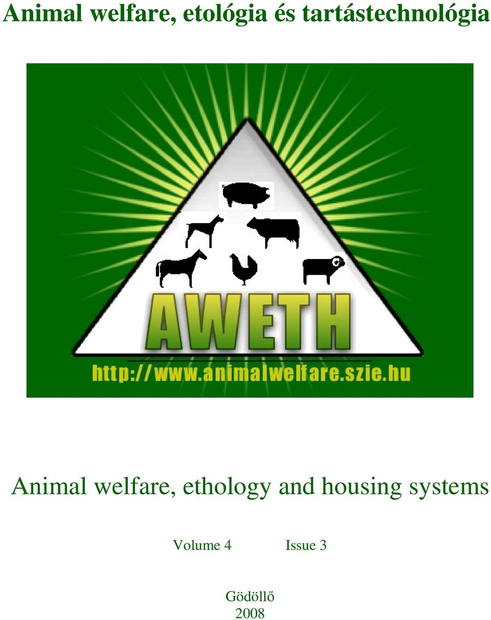 welfare, ethology and housing