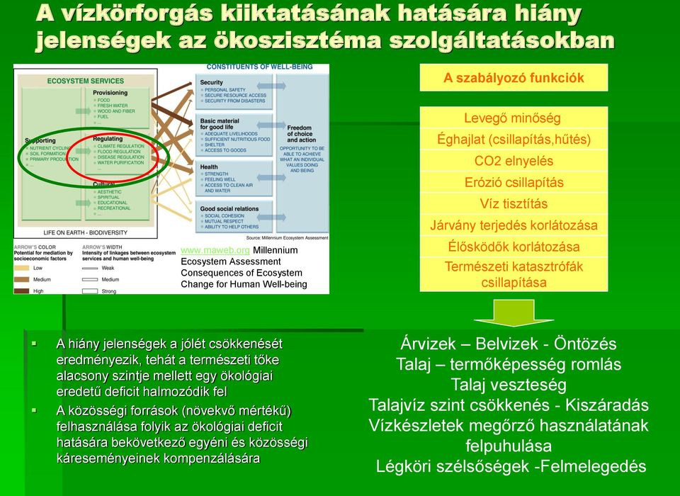 org Millennium Ecosystem Assessment Consequences of Ecosystem Change for Human Well-being Élősködők korlátozása Természeti katasztrófák csillapítása A hiány jelenségek a jólét csökkenését