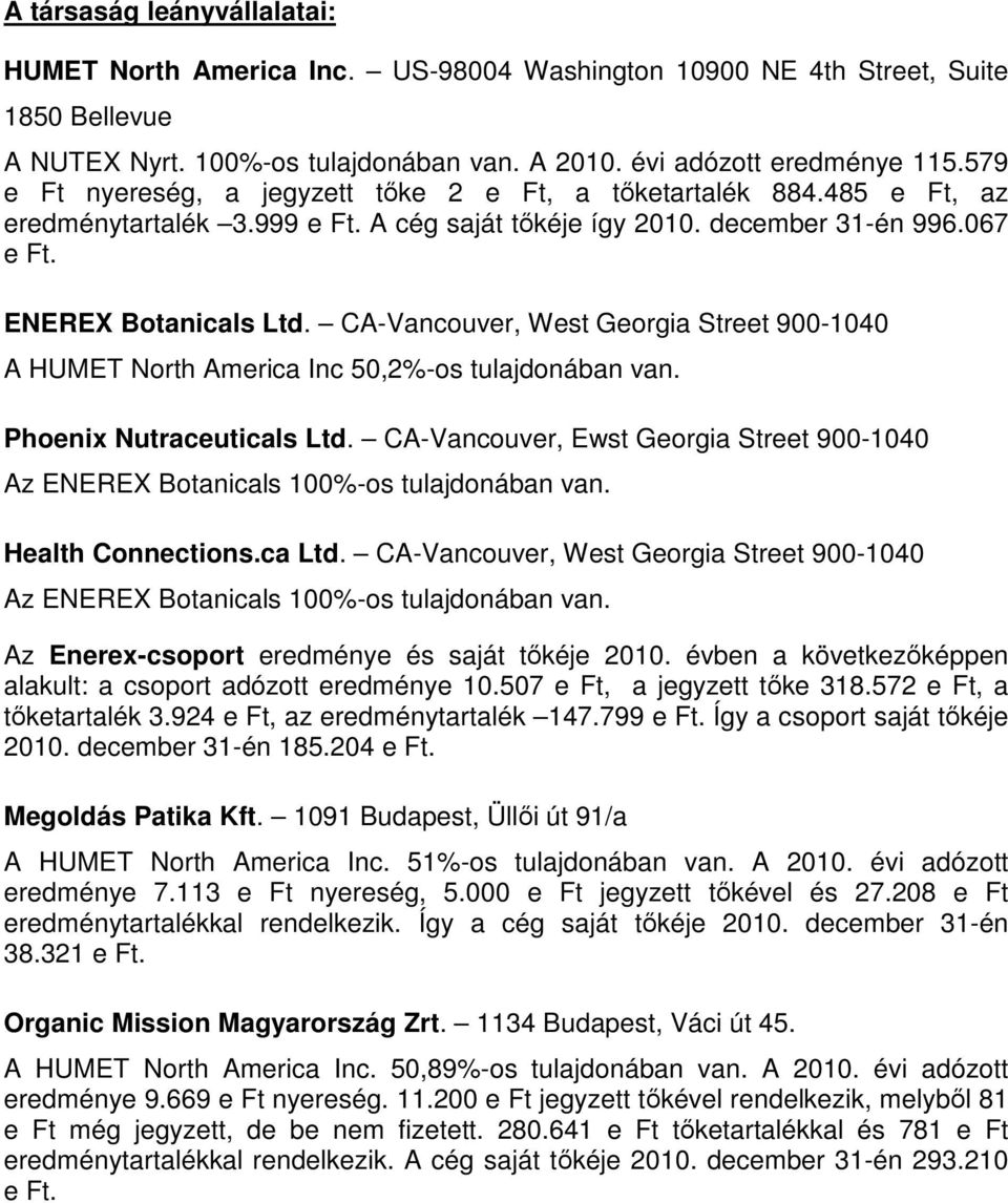 CA-Vancouver, West Georgia Street 900-1040 A HUMET North America Inc 50,2%-os tulajdonában van. Phoenix Nutraceuticals Ltd.