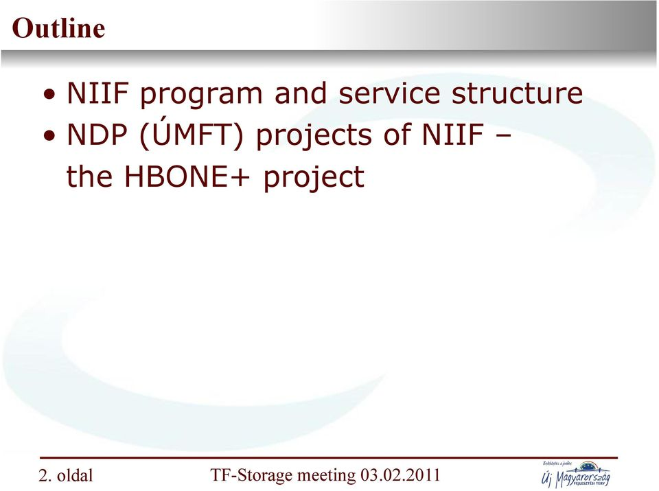 (ÚMFT) projects of NIIF