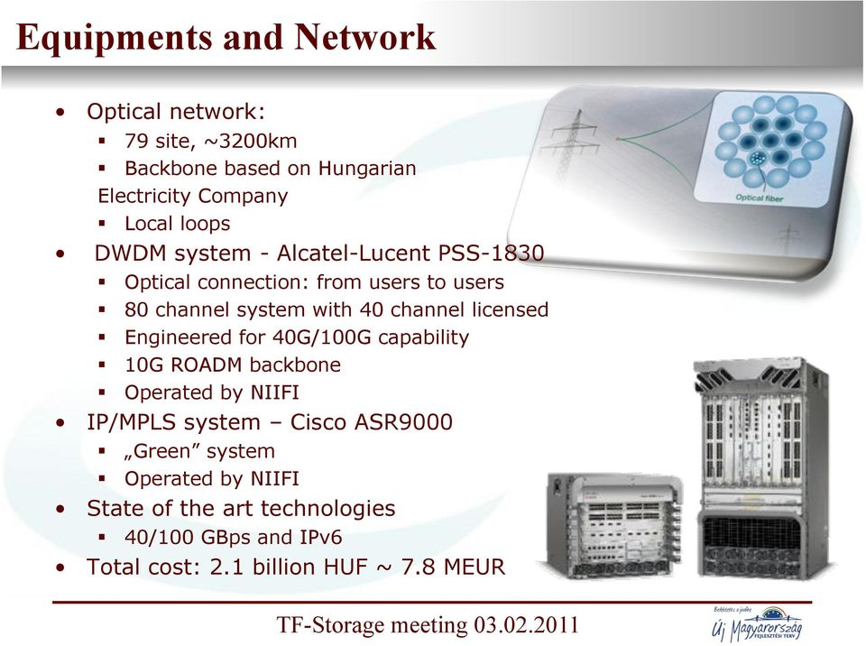 80 channel system with 40 channel licensed! Engineered for 40G/100G capability! 10G ROADM backbone!