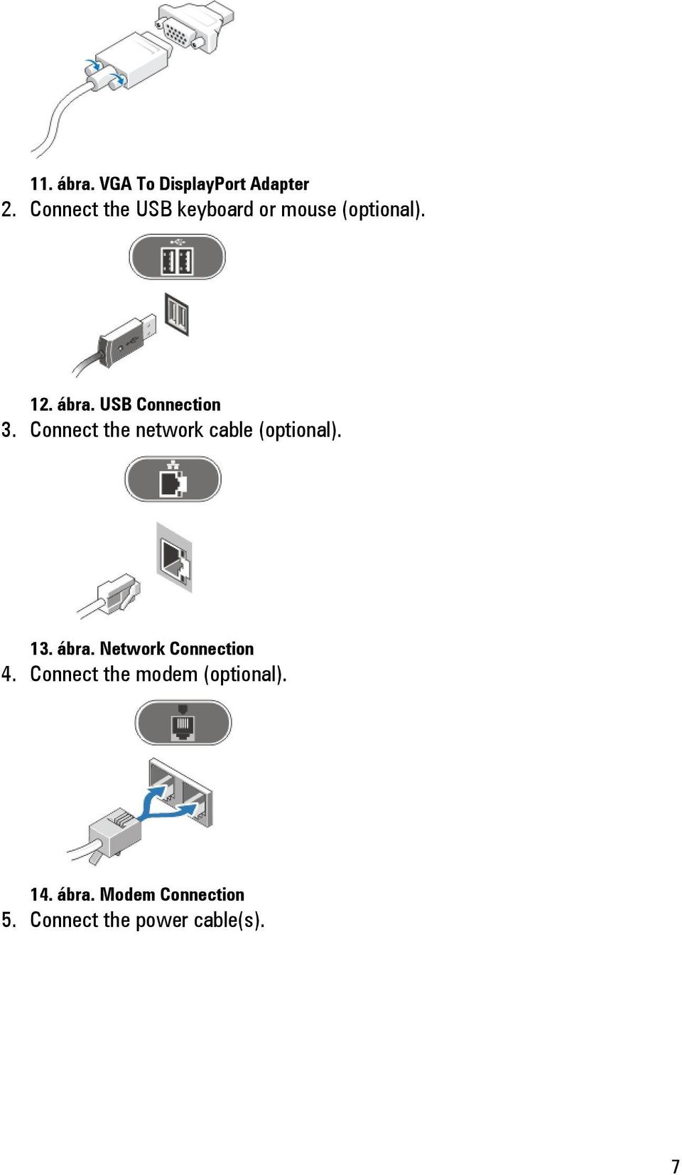 USB Connection 3. Connect the network cable (optional). 13. ábra.