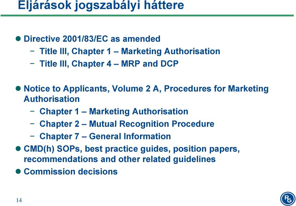 Chapter 1 Marketing Authorisation Chapter 2 Mutual Recognition Procedure Chapter 7 General Information CMD(h)
