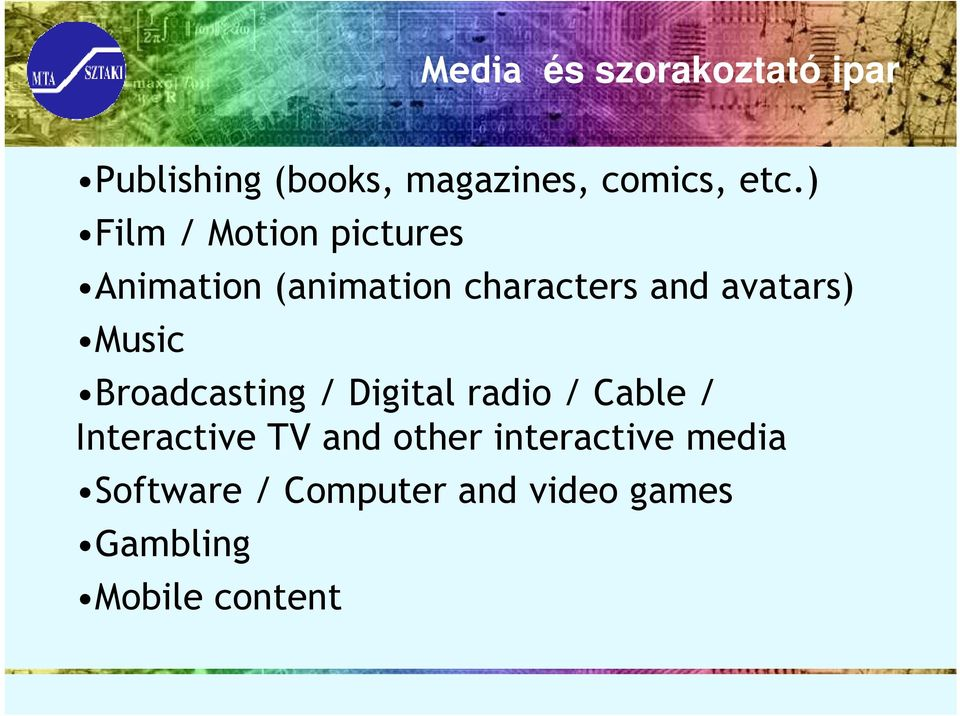 Music Broadcasting / Digital radio / Cable / Interactive TV and other
