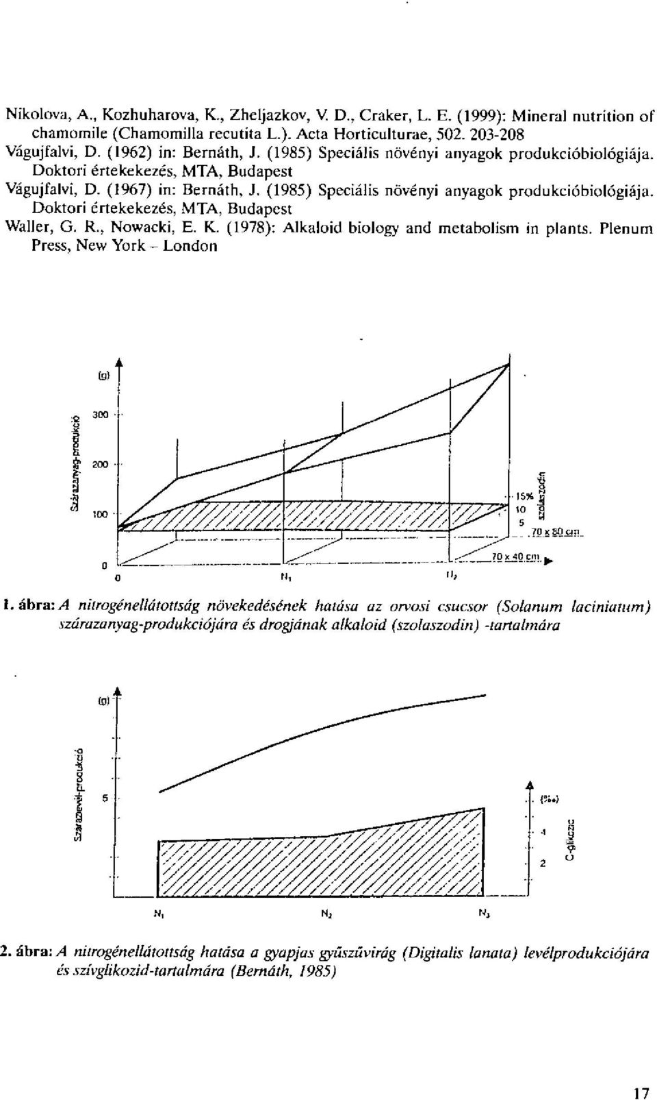 Doktori 6rtekekezds, MTA, Budapest Waller, G. R., Nowacki, E. K. (1978): Alkaloid biology and metabolism in plants. Plenum Press, New York - London (g) og,jlii, 15%....T 40 om I.