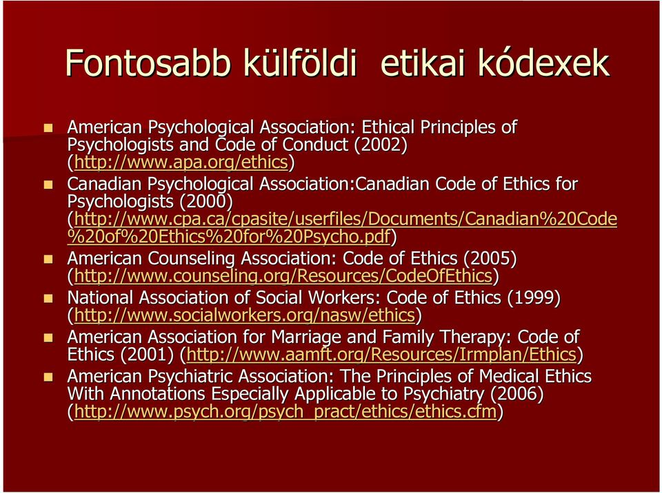 pdf) American Counseling Association: Code of Ethics (2005) (http://www.counseling.org/resources/codeofethics) National Association of Social Workers: Code of Ethics (1999) (http://www.socialworkers.