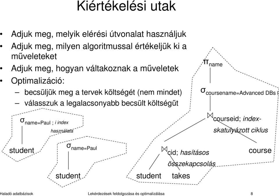 becsült költségűt σ name=paul ; i index használata π name σ coursename=advanced DBs l courseid; indexskatulyázott ciklus student