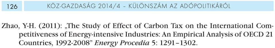 Competitiveness of Energy-intensive Industries: An Empirical