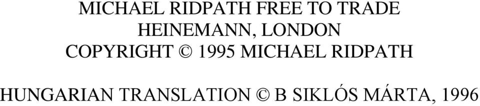 1995 MICHAEL RIDPATH HUNGARIAN