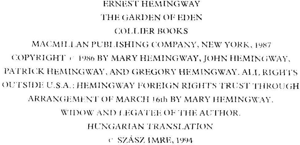 AND GRKGORY HEMINGWAY. A U, RIGHTS O i;t S Il)l;. U S A.