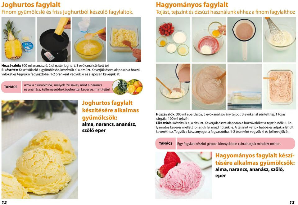 Eggs, fresh cream and juice are used to make this ice cream Hagyományos fagylalt full of flavor and nutrients.
