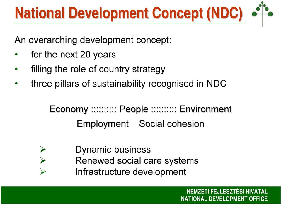 sustainability recognised in NDC Economy :::::::::: People :::::::::: Environment