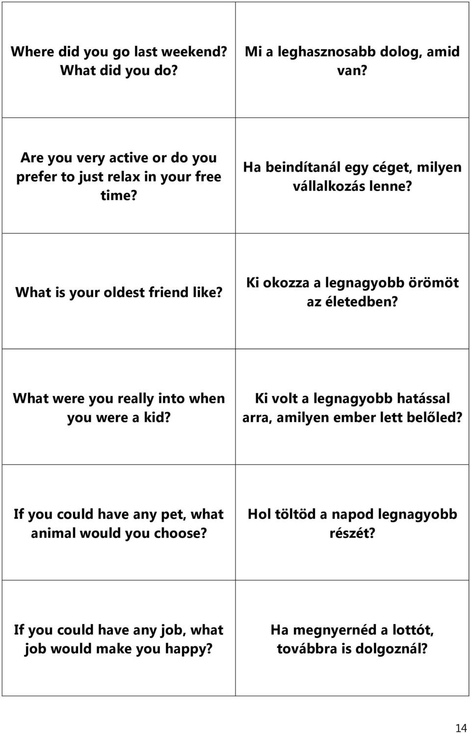What is your oldest friend like? Ki okozza a legnagyobb örömöt az életedben? What were you really into when you were a kid?