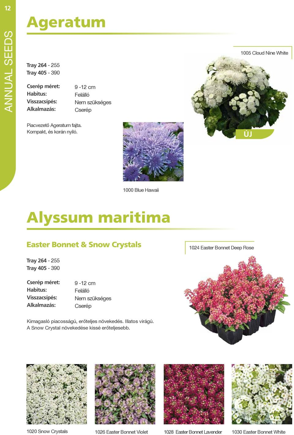 ÚJ 1000 Blue Hawaii Alyssum maritima Easter Bonnet & Snow Crystals 1024 Easter Bonnet Deep Rose Tray 264-255 Tray