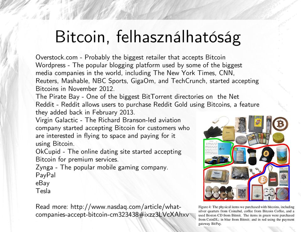 Reuters, Mashable, NBC Sports, GigaOm, and TechCrunch, started accepting Bitcoins in November 2012.