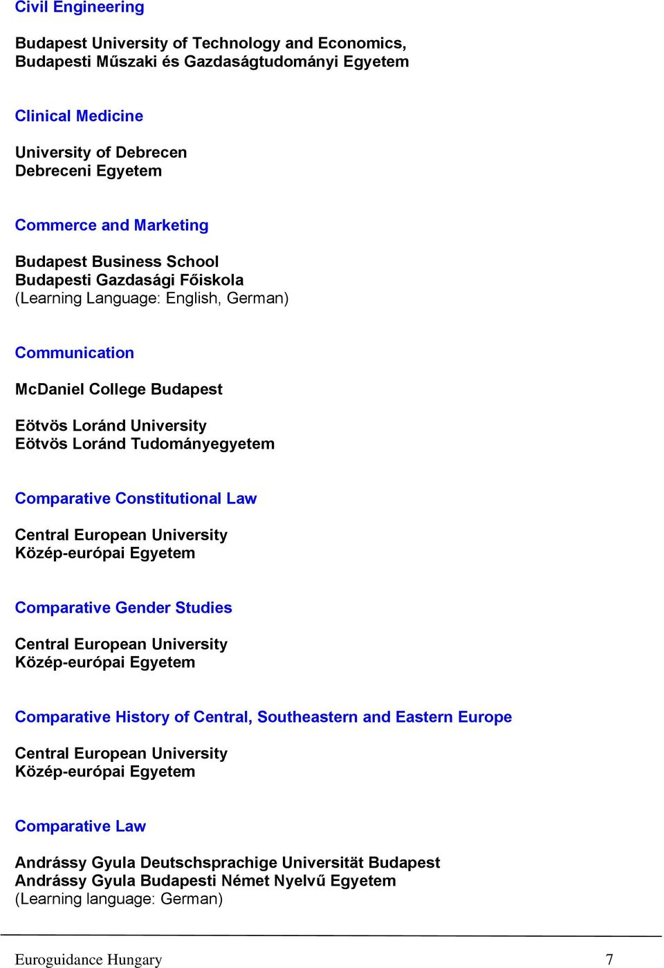 Budapest Comparative Constitutional Law Comparative Gender Studies Comparative History of Central, Southeastern and Eastern Europe Comparative