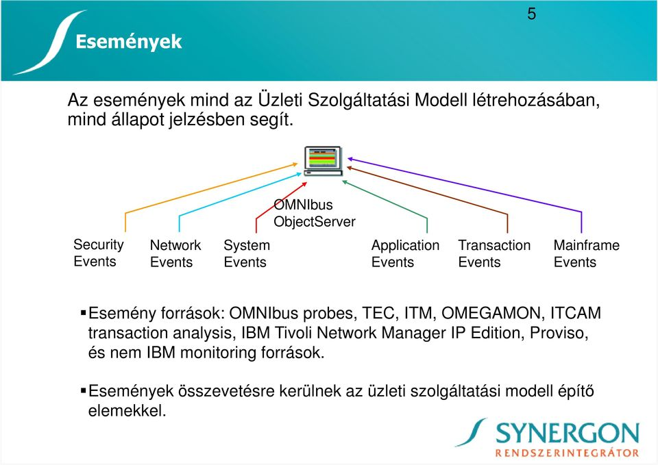 Events Esemény források: OMNIbus probes, TEC, ITM, OMEGAMON, ITCAM transaction analysis, IBM Tivoli Network Manager