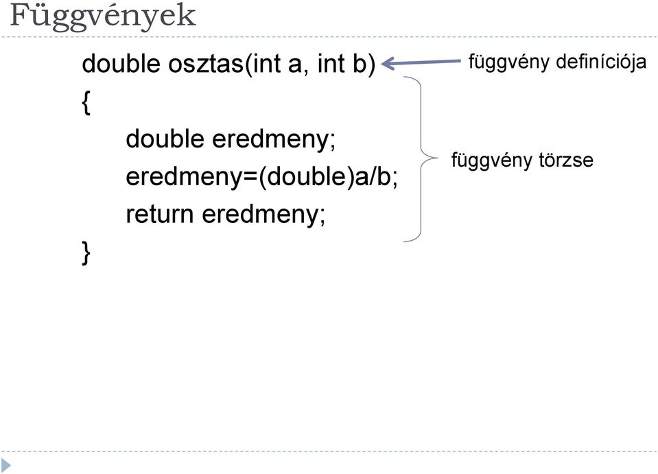eredmeny=(double)a/b; return
