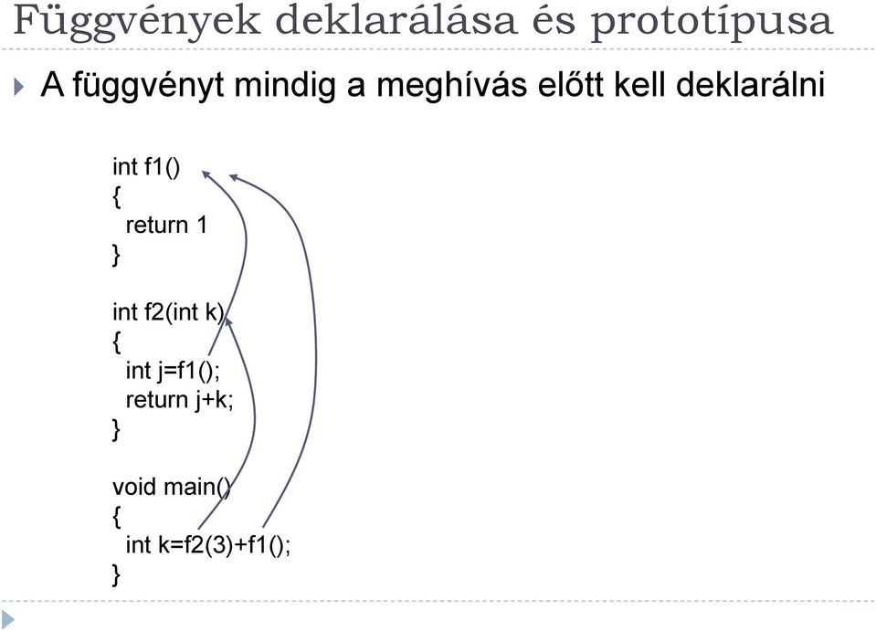 deklarálni int f1() return 1 int f2(int k)