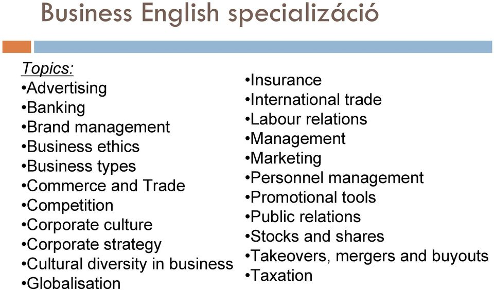 Globalisation Insurance International trade Labour relations Management Marketing Personnel