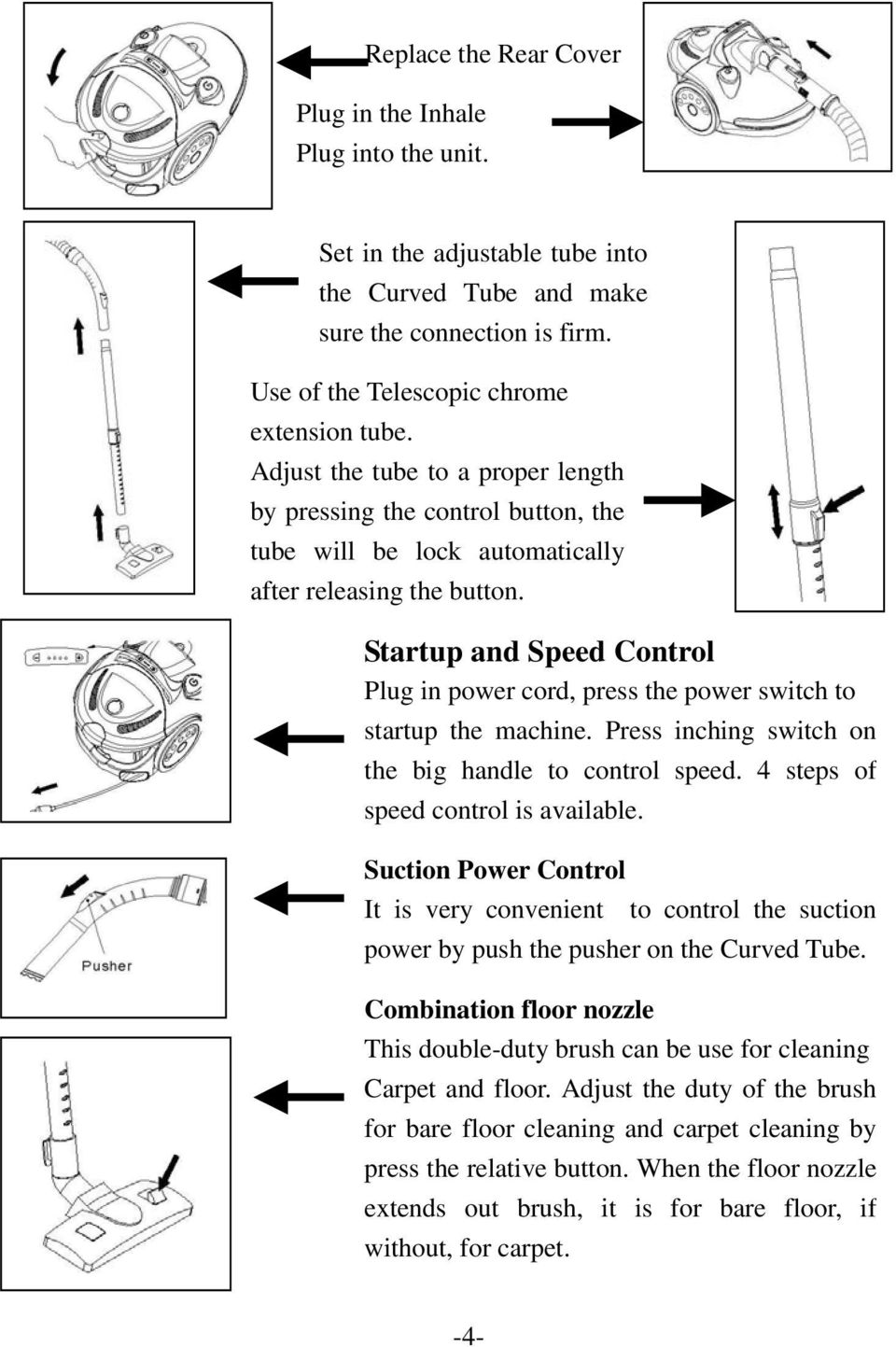 Startup and Speed Control Plug in power cord, press the power switch to startup the machine. Press inching switch on the big handle to control speed. 4 steps of speed control is available.