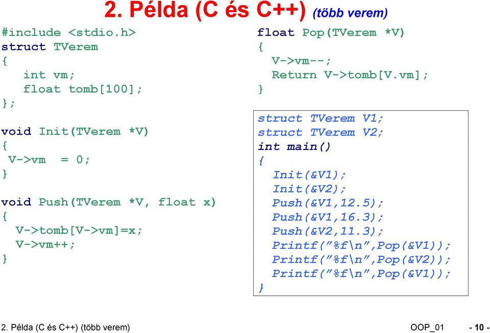 Return V->tomb[V.vm]; struct TVerem V1; struct TVerem V2; int main() Init(&V1); Init(&V2); Push(&V1,12.