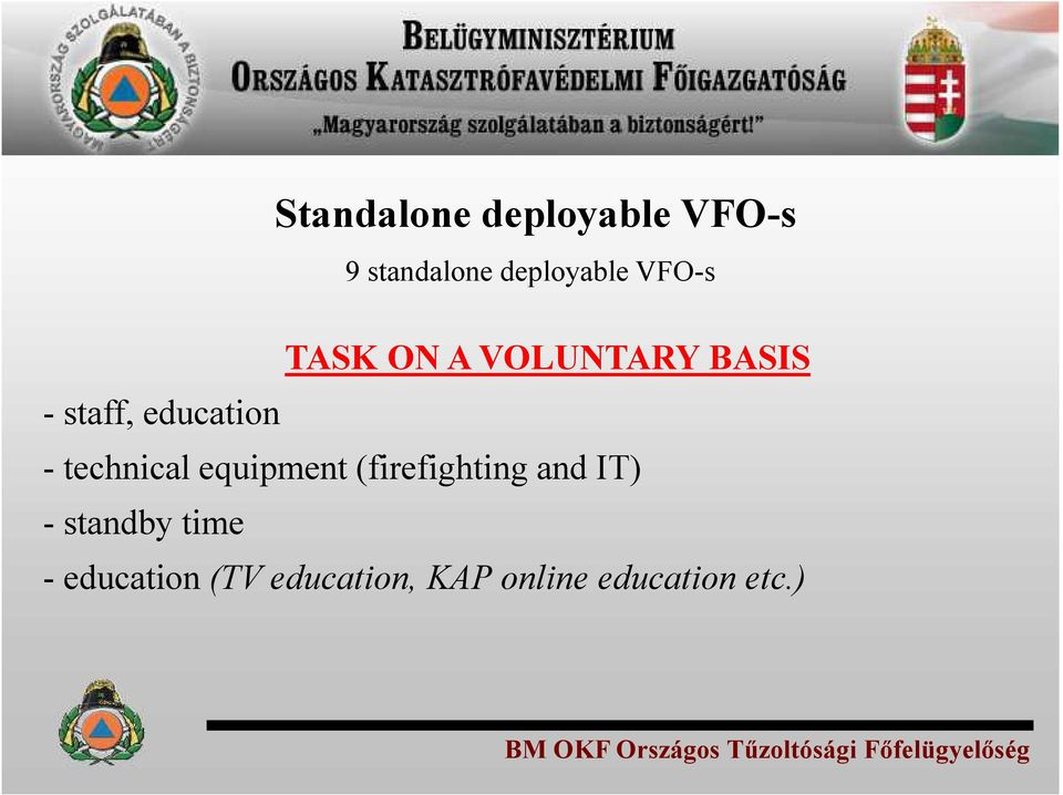 (firefighting and IT) - standby time - education (TV education,