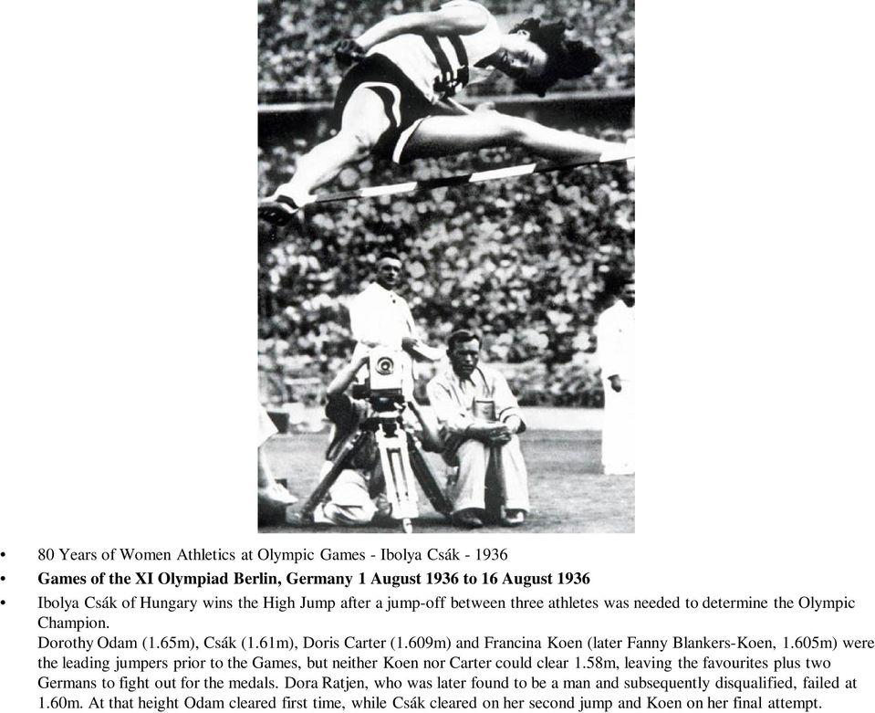 609m) and Francina Koen (later Fanny Blankers-Koen, 1.605m) were the leading jumpers prior to the Games, but neither Koen nor Carter could clear 1.