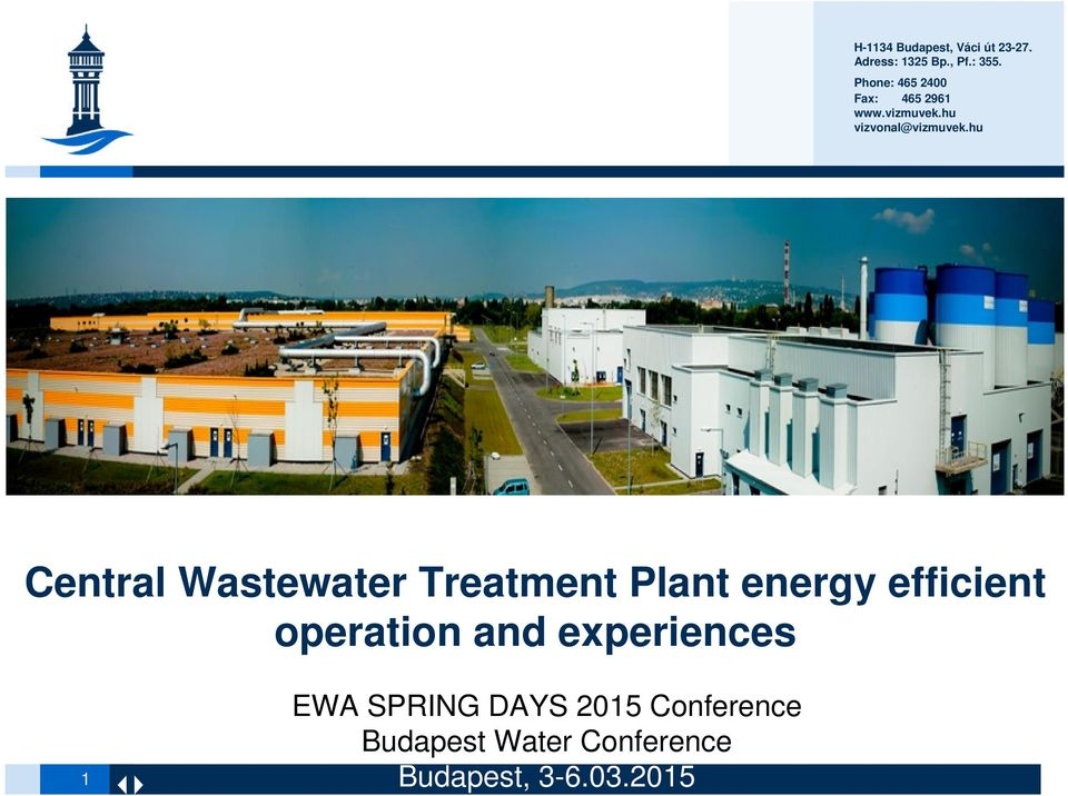 hu Central Wastewater Treatment Plant energy efficient operation and