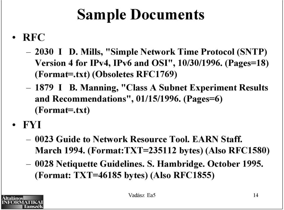"Manning, ""Class A Subnet Experiment Results and Recommendations"", 01/15/1996. (Pages=6) (Format=."