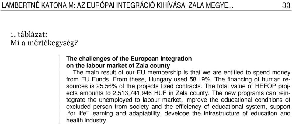From these, Hungary used 58.19%. The financing of human resources is 25.56% of the projects fixed contracts.