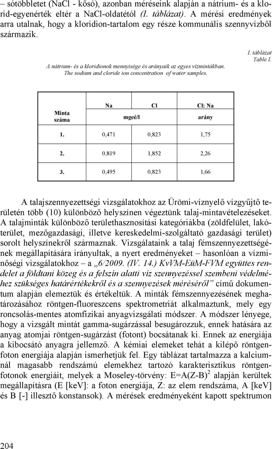 The sodium and cloride ion concentration of water samples. I. táblázat Table I. Minta száma Na Cl Cl: Na mgeé/l arány 1. 0,471 0,823 1,75 2. 0,819 1,852 2,26 3.